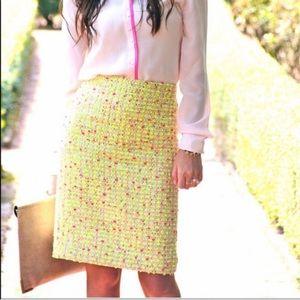 Jcrew Neon Tweed No 2 Pencil Skirt sz 10